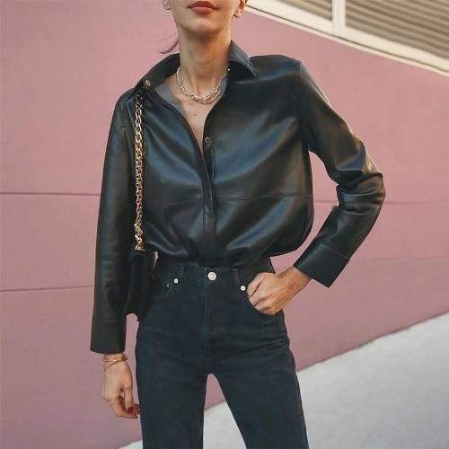 Женские кожаные рубашки на Алиэкспресс